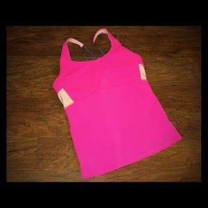 ATHLETA PINK AND WHITE Color Block Yoga Tank Top